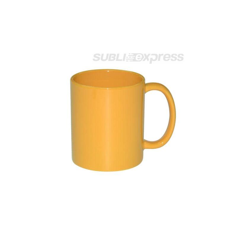 Teljesen színés fényes sárga bögre
