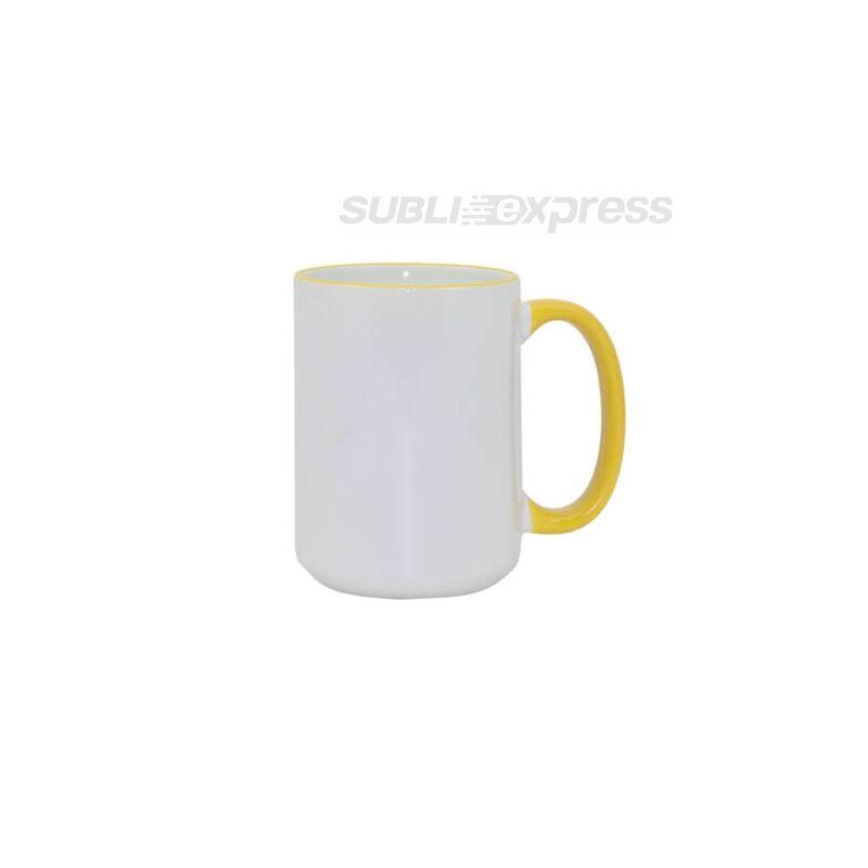 450 ml-es szublimációs bögre sárga füllel