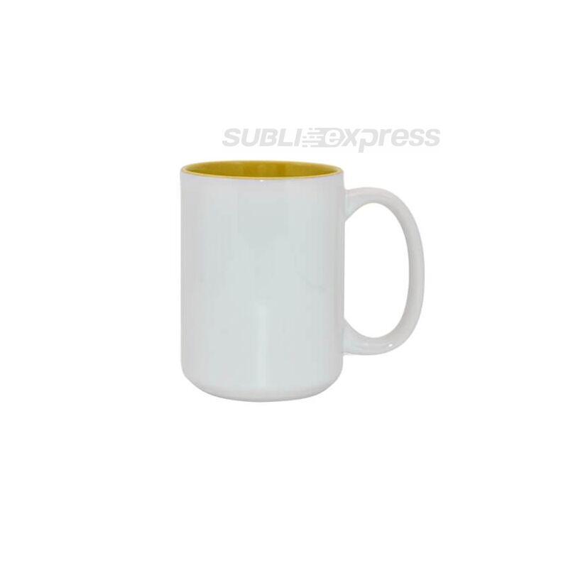450 ml-es szublimációs bögre sárga belsővel