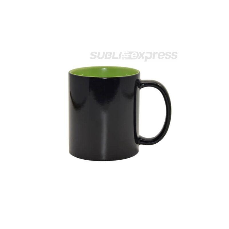 330 ml-es színváltós fekete bögre világoszöld belsővel