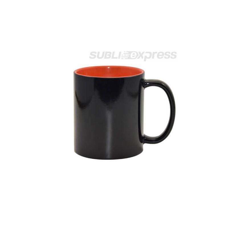 330 ml-es színváltós fekete bögre narancssárga belsővel