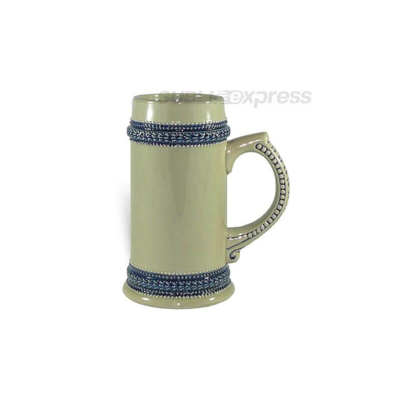 660 ml-es söröskorsó szürke kék szegéllyel