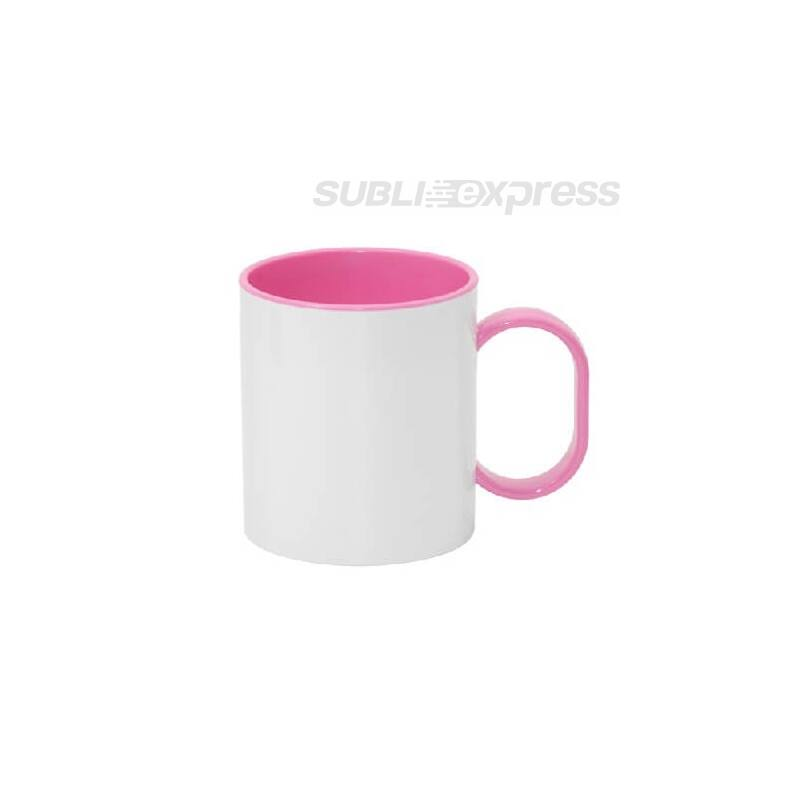 330 ml-es műanyag bögre rózsaszín füllel és belsővel