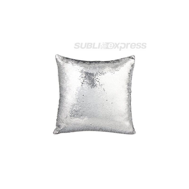 40 x 40 cm-es flitteres párnahuzat ezüst szinű