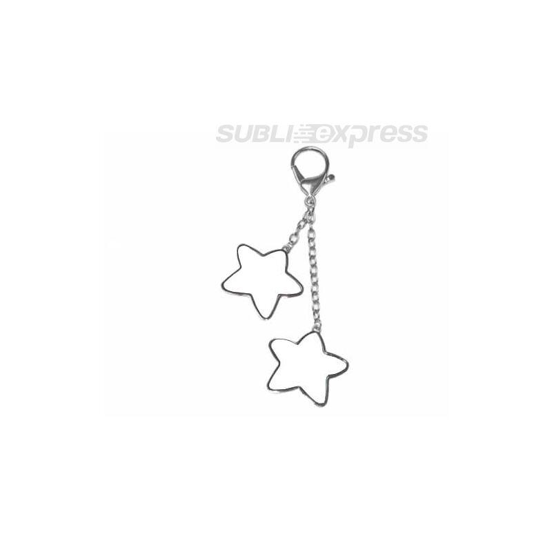Szublimációs fém kulcstartó két csillag alakú felülettel