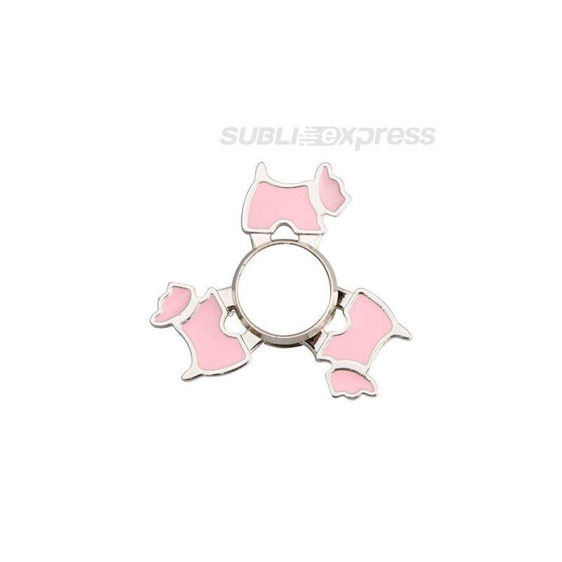 Szublimációs Fém spinner kutya alakú rózsaszín