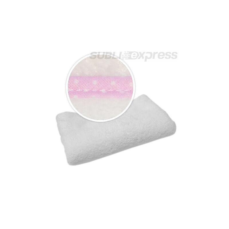 Szublimációs takaró rózsaszín fehér polka pöttyös szegéllyel