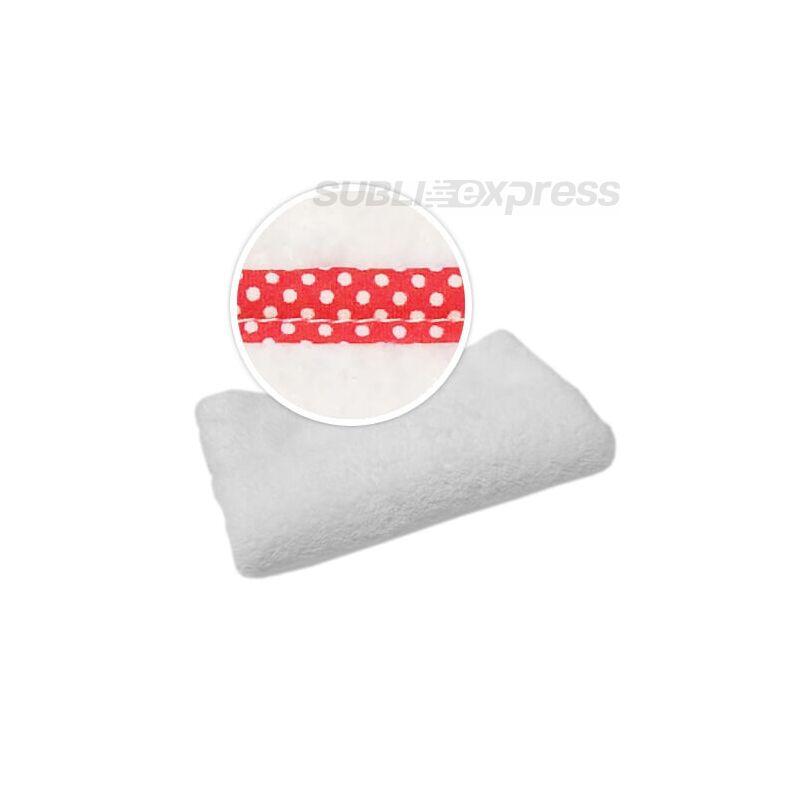 Szublimációs takaró piros fehér polka pöttyös szegéllyel