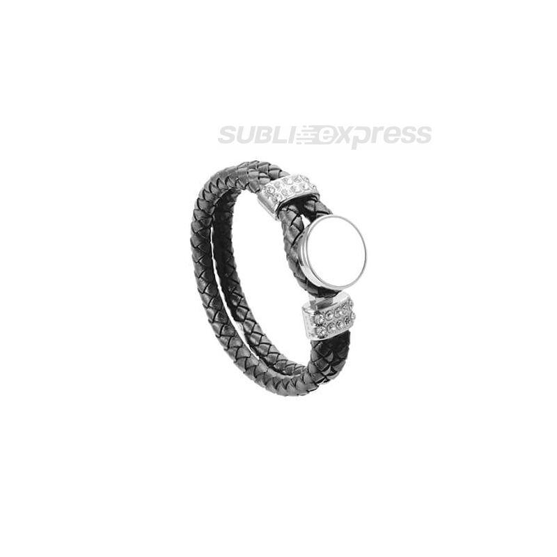 Fekete fonott bőr karkötő szublimációs gyűrűvel