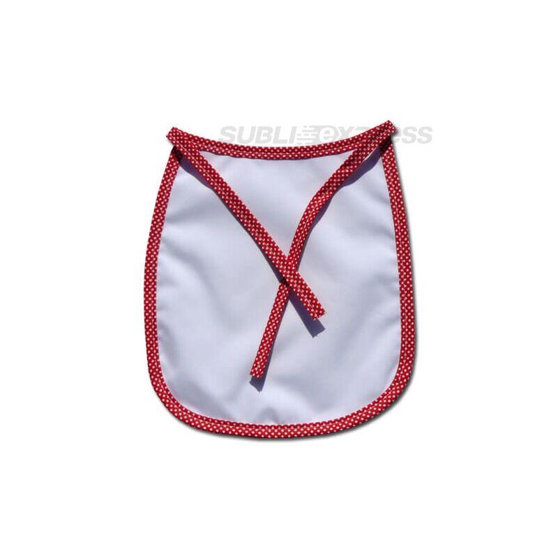 Szublimációs baba előke Prémium piros pöttyös szegéllyel