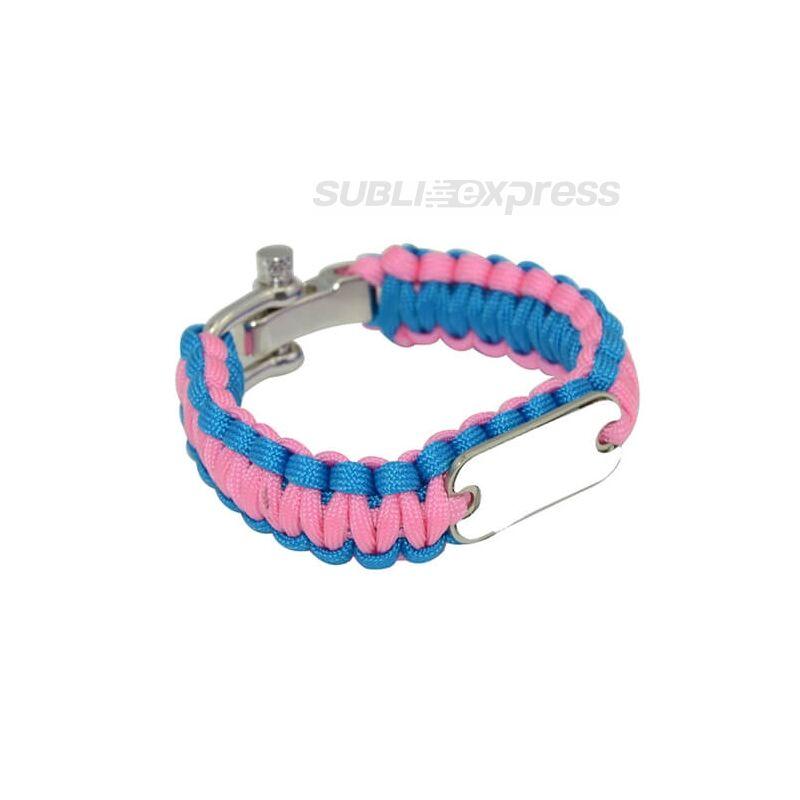 Szublimációs karkötő paracord kék-rózsaszín
