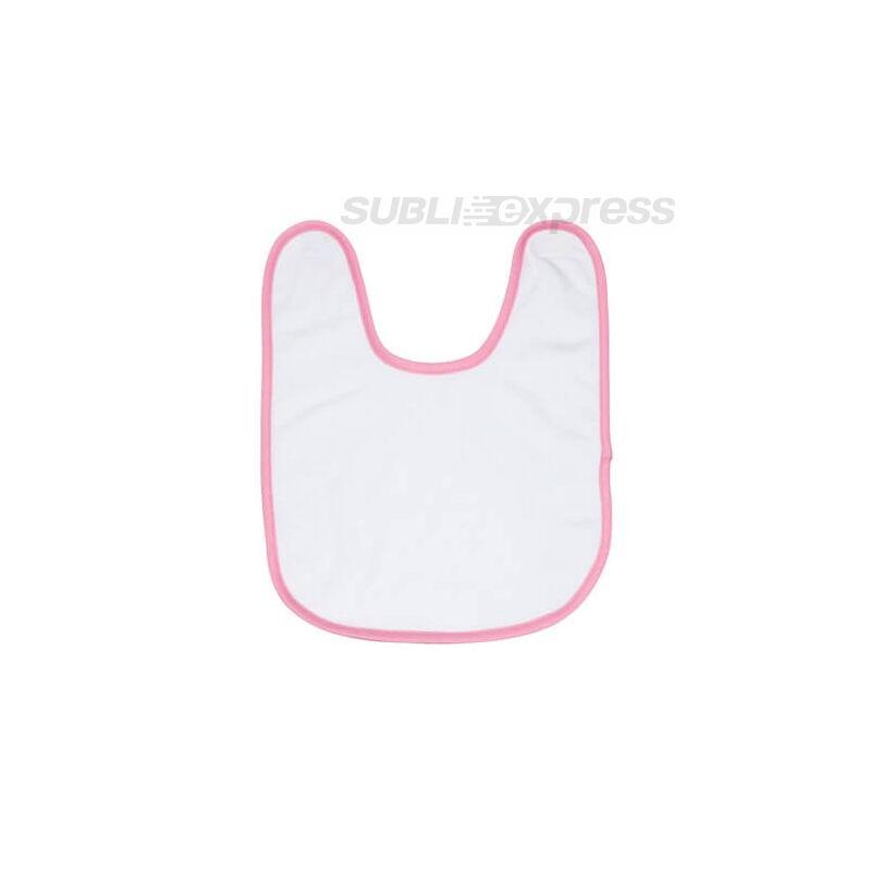 Szublimációs baba előke rózsaszín szegéllyel frottírozott
