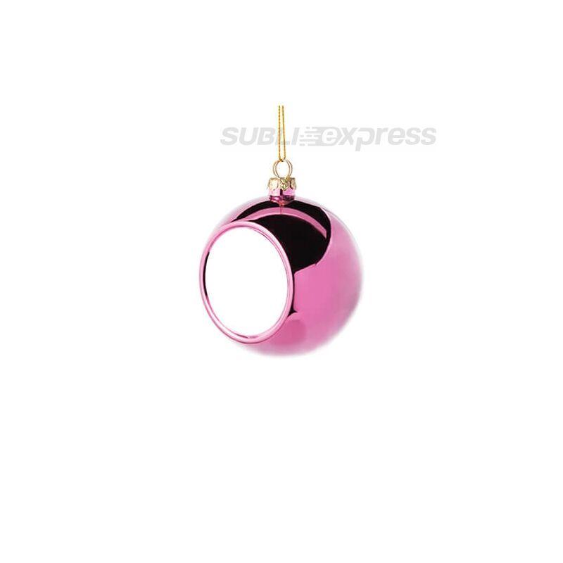 Szublimációs karácsonyfa gömb 6 cm átmérőjű rózsaszín színű