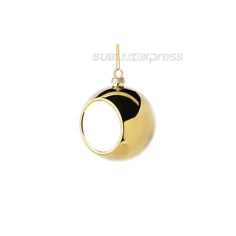 Szublimációs karácsonyfa gömb 8 cm átmérőjű arany színű