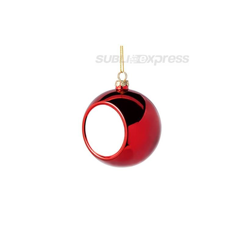 Szublimációs karácsonyfa gömb 8 cm átmérőjű piros színű