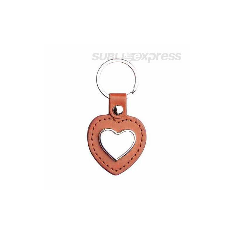 Szublimációs kulcstartó szív alakú barna bőr alapon