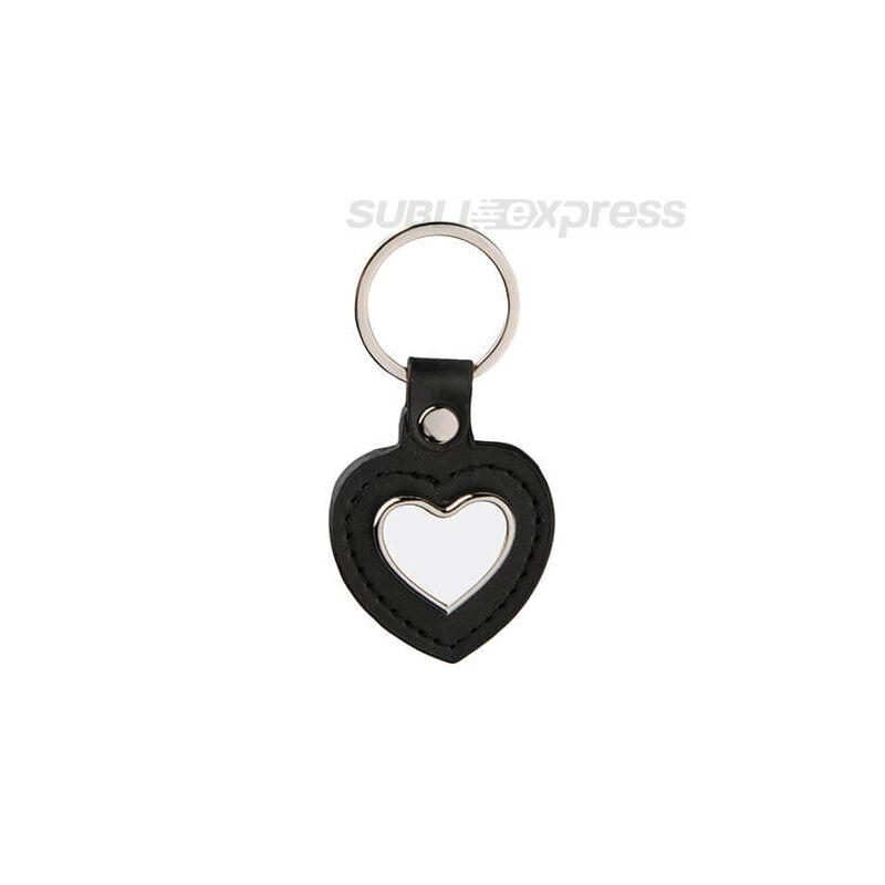 Szublimációs kulcstartó szív alakú fekete bőr alapon