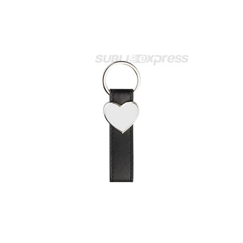 Bőr kulcstartó fekete fém szív alakú szublimációs medállal