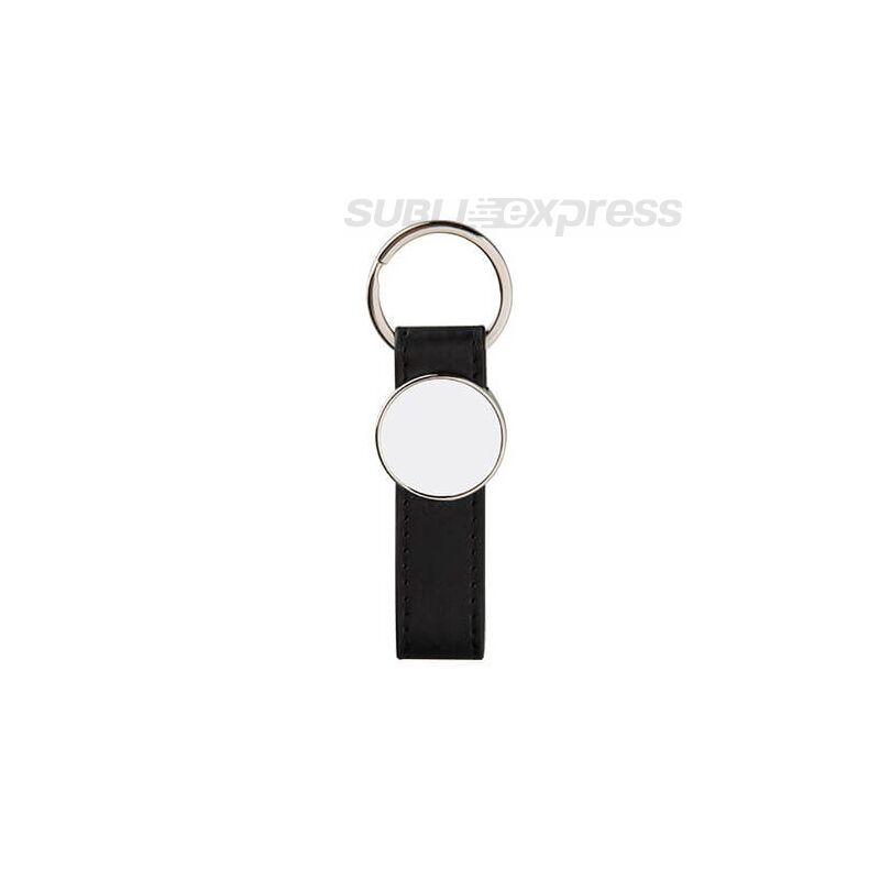 Bőr kulcstartó fekete fém kör alakú szublimációs medállal