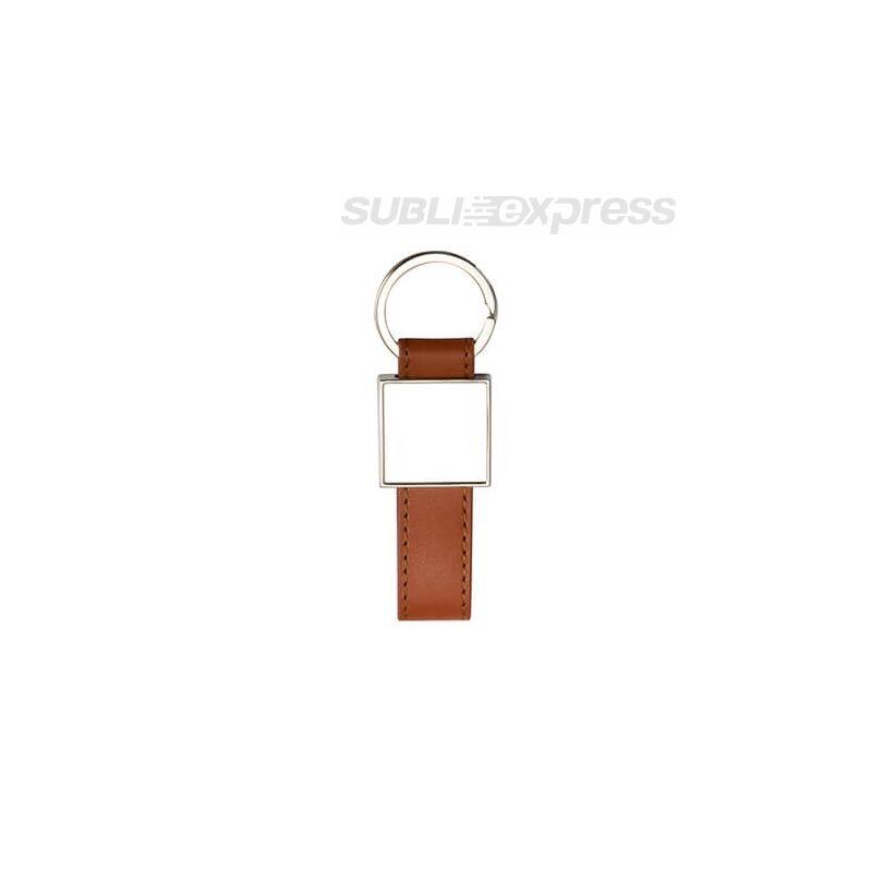 Bőr kulcstartó barna fém szögletes szublimációs medállal