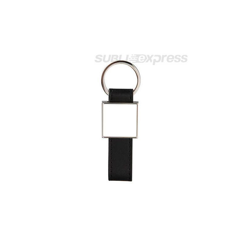Bőr kulcstartó fekete fém szögletes szublimációs medállal