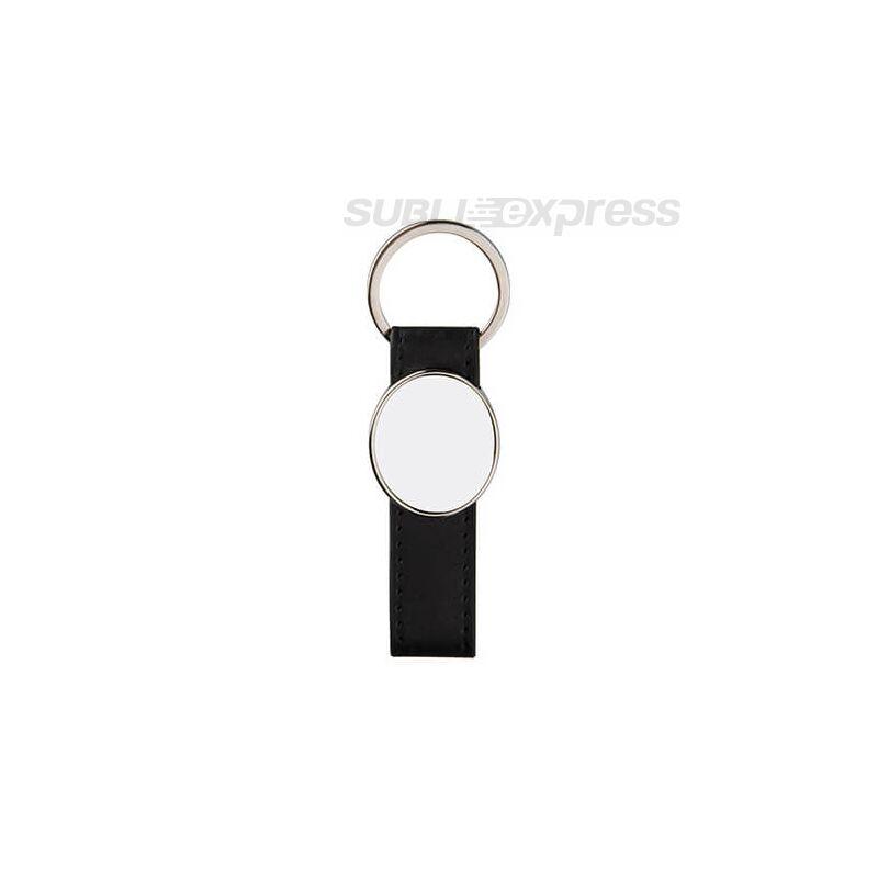 Bőr kulcstartó fekete fém ovális szublimációs medállal