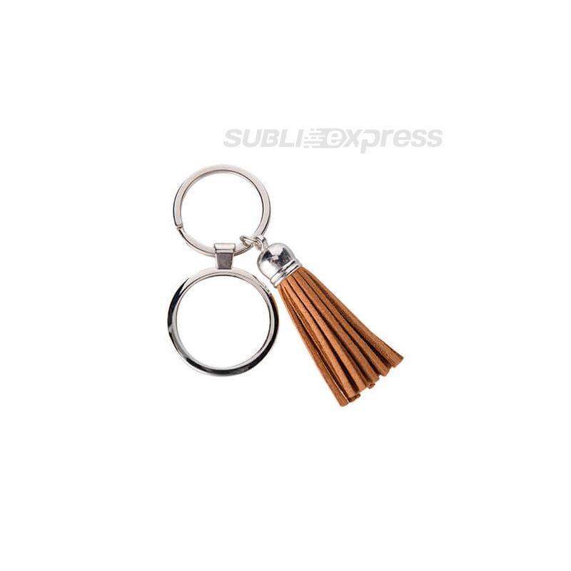 Szublimációs fém kulcstartó kör alakú barna rövid rojttal