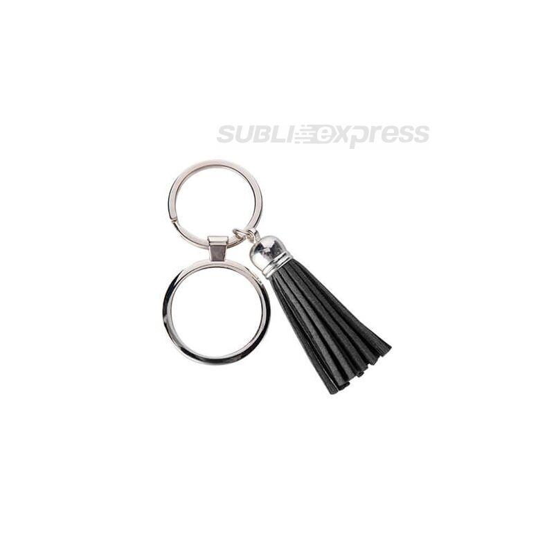 Szublimációs fém kulcstartó kör alakú fekete rövid rojttal