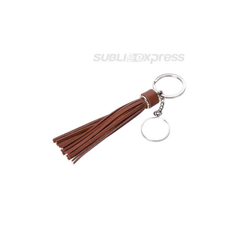 Szublimációs fém kulcstartó kör alakú barna hosszú rojttal