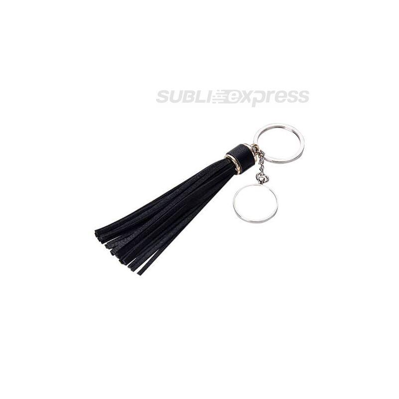 Szublimációs fém kulcstartó kör alakú fekete hosszú rojttal