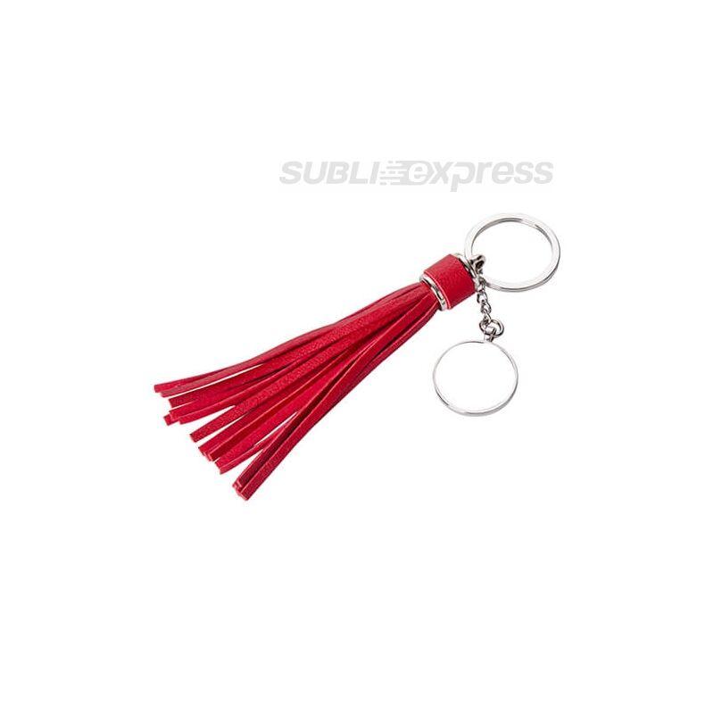 Szublimációs fém kulcstartó kör alakú piros hosszú rojttal