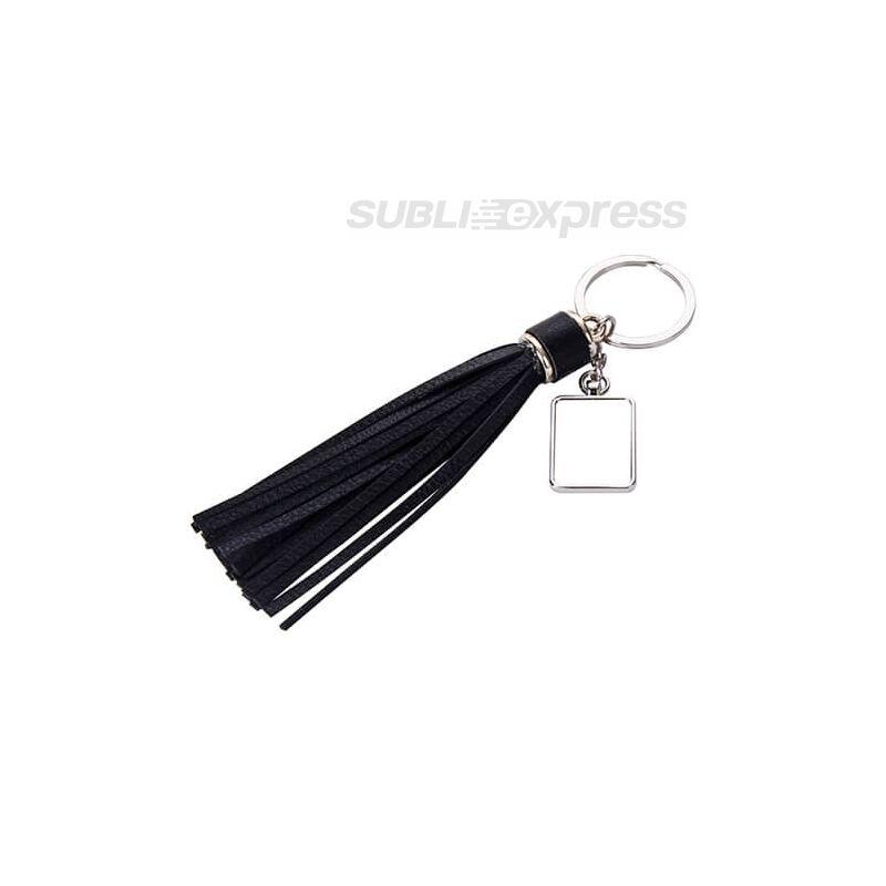 Szublimációs fém kulcstartó négyszögletes fekete hosszú rojttal