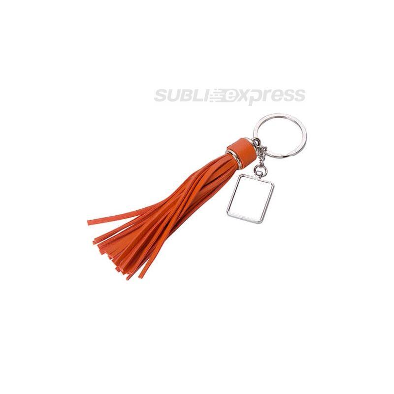 Szublimációs fém kulcstartó négyszögletes narancssárga hosszú rojttal
