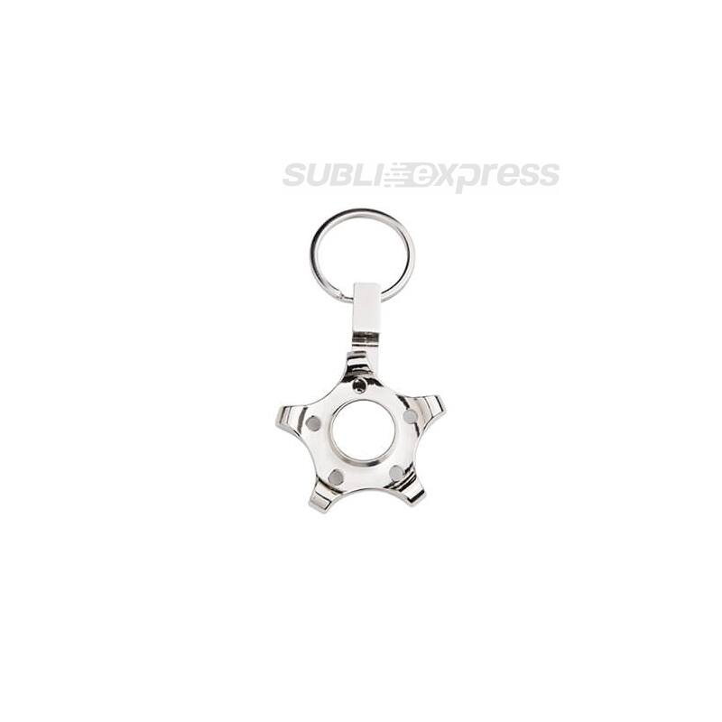 Szublimációs fém kulcstartó ötágú fogaskerék alakú fidget spinnerrel