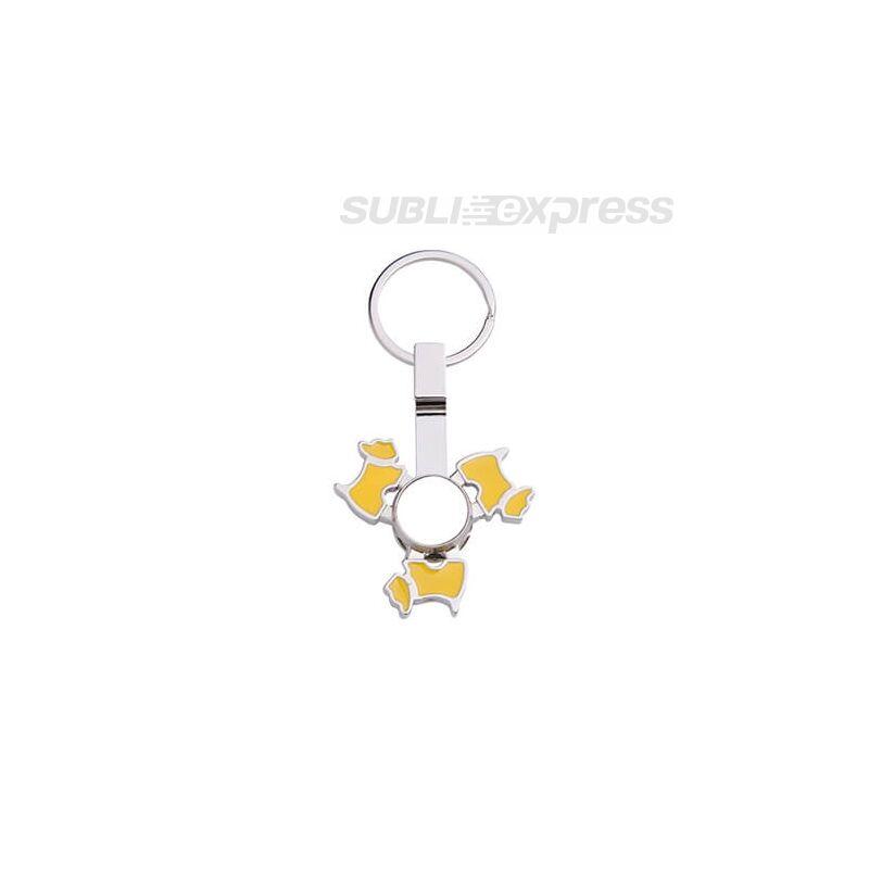 Szublimációs fém kulcstartó kutya alakú, sárga fidget spinnerrel